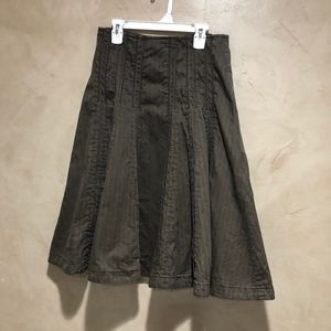 Cabi Brown Pleated Fit and Flare Skirt Stye #956